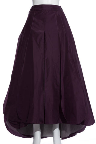 Chanel Vintage Eggplant Silk Pleated Long Skirt SZ 36