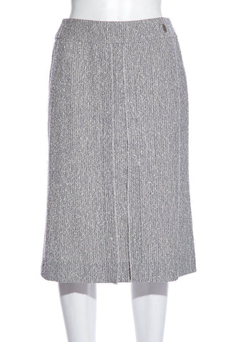 Chanel Vintage GreyTweed Knee-Length Skirt SZ 38