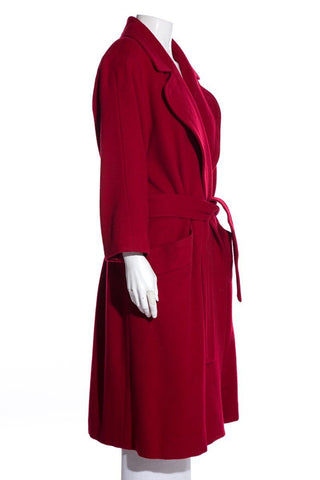 Yves Saint Laurent Vintage Red Wool Coat SZ 38