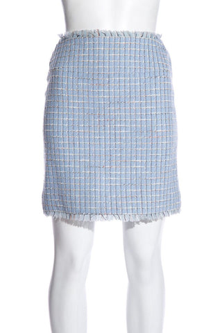 Chanel Vintage Blue Tweed Skirt SZ 36