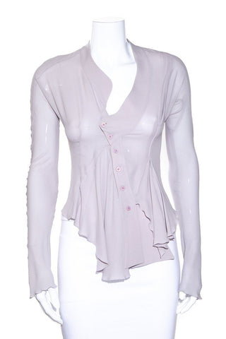Balenciaga Lavender Cropped Asymmetrical Button Up Blouse SZ 40
