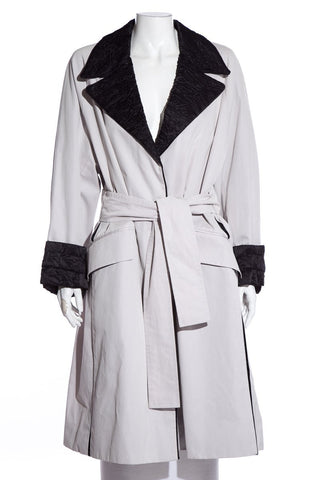 Yves Saint Laurent Grey & Black Trench Coat SZ 40 NWT