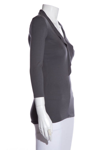 Brunello Cucinelli Grey Long Sleeve V-Neck Top SZ S