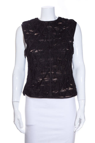 Balenciaga Black Sleeveless Lace Blouse SZ 42
