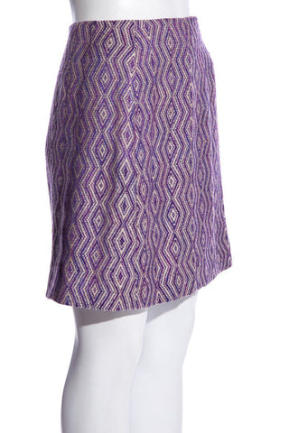 Chanel Vintage Purple Vintage Tweed Pattern Knee-Length Skirt SZ 38