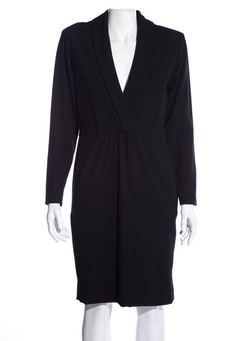 Yves Saint Laurent Vintage Black V-Neck Dress SZ 36