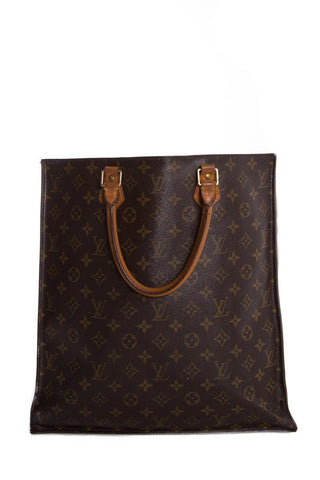 Louis Vuitton Vintage Brown & Tan Monogram Sac Plat Tote Bag