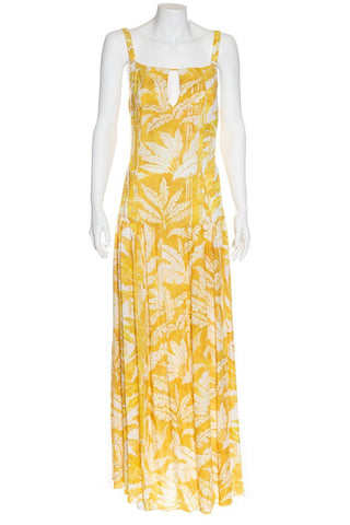 Adriana Degreas Yellow & White Tropical Print Maxi Dress Sz L