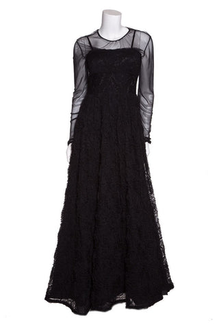 Adrianna Papell Black Rosette Detail Evening Gown SZ 4