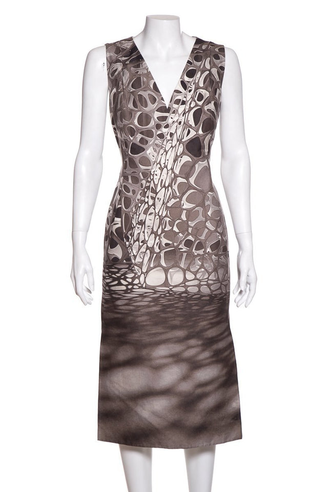 Akris Grey Print Dress SZ 10