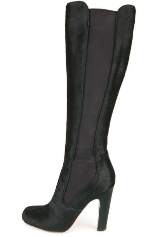 Alaia 38 Dark Green Pony Hair Knee High Boots