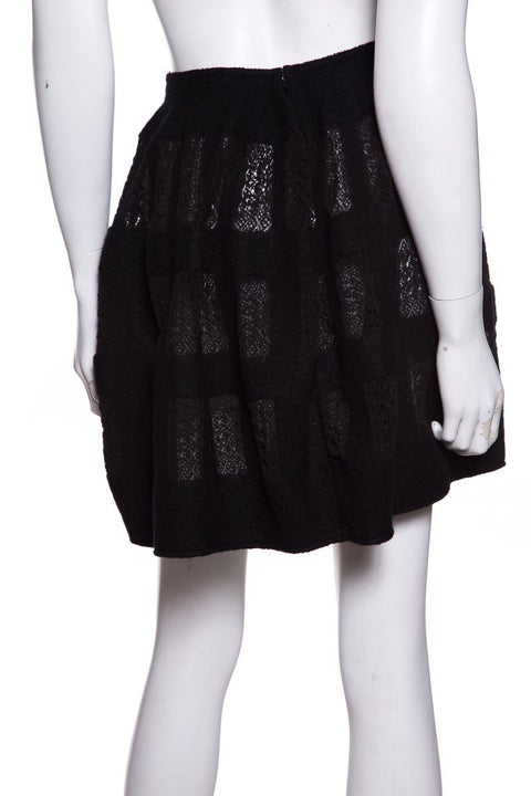 Alaia Black Flared Wool Lace Intert Skirt SZ XS
