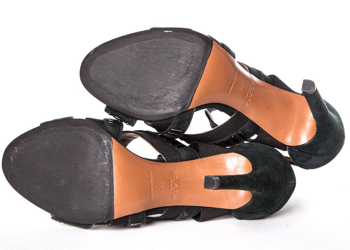 Alaia Forest Green Suede Sandals SZ 35