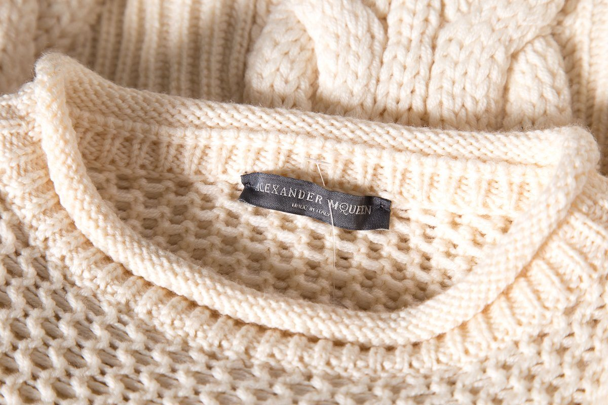 Alexander McQueen Cream Wool Knit Sweater SZ S