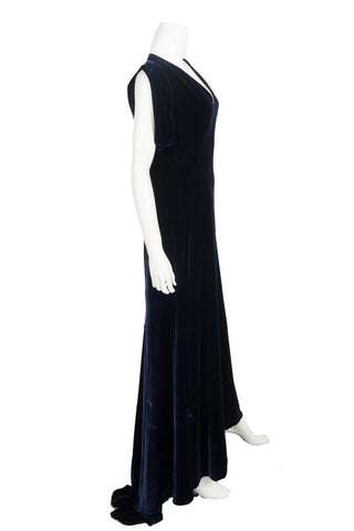Alexander McQueen Navy Velvet Gown/Evening Wear Sz 44
