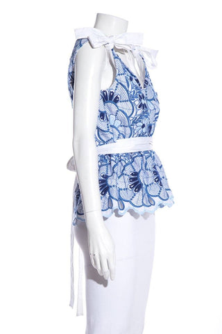 Alexis Blue & White Embroidered Top SZ L