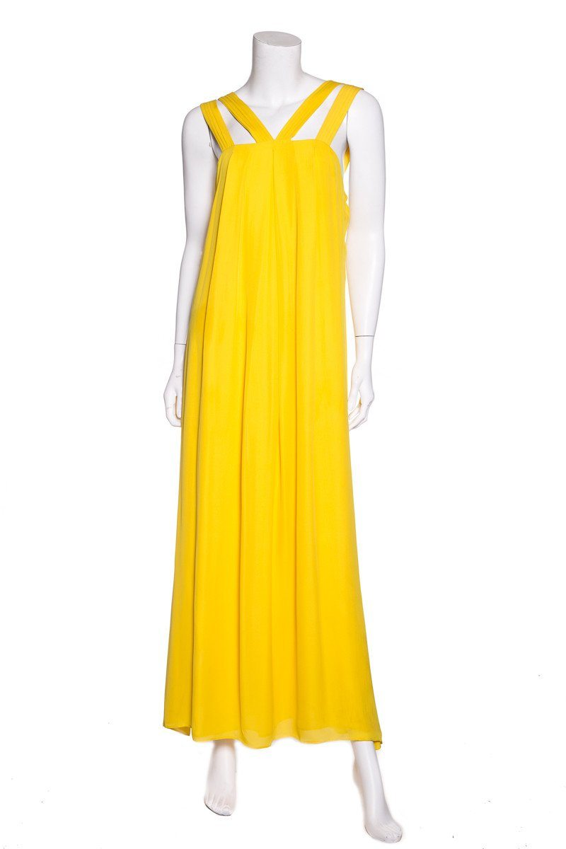 Alice + Olivia Yellow Silk Maxi Dress SZ L