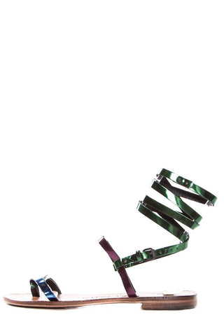 Alvaro Gonzalez Multicolored Metallic Leather Sandals SZ 37 NWT SALE