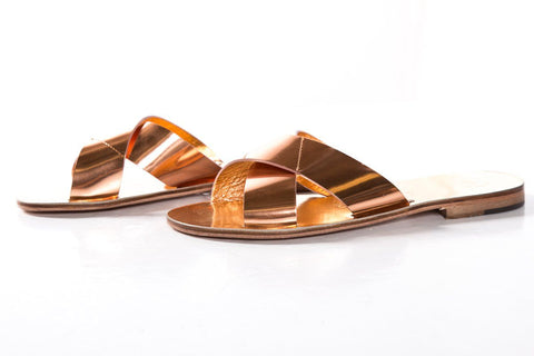 Alvaro Gonzalez Rose Gold Metallic Leather Slide Sandals SZ 39 NWT SALE