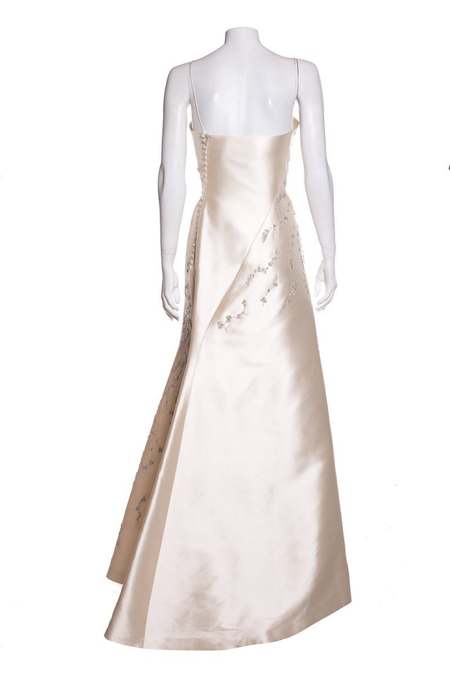Angel Sanchez Cream Embellished Gown SZ 8