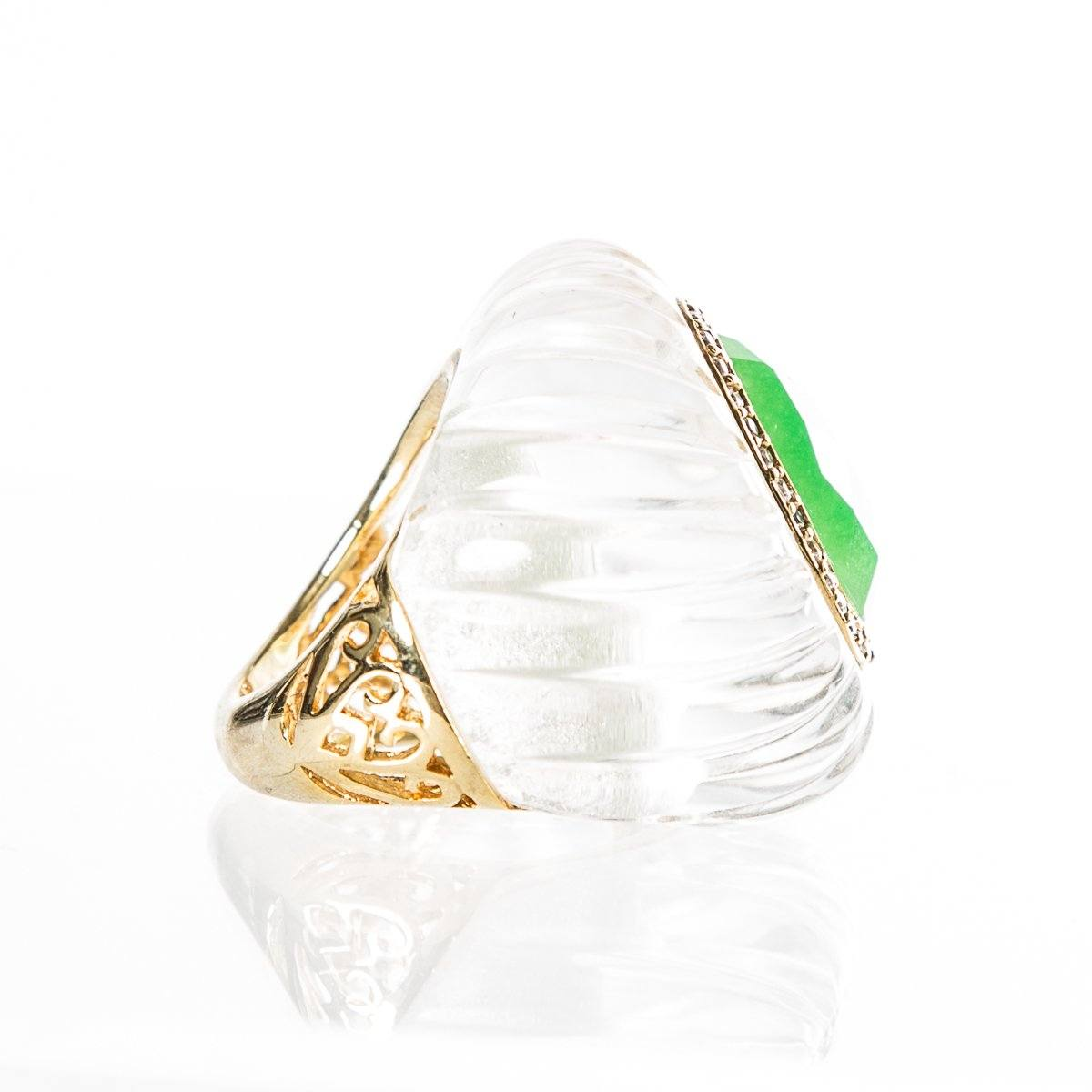 Angelique De Paris Clear Resin & Green Crystal Ring