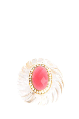 Angelique De Paris Pink Glass Ring