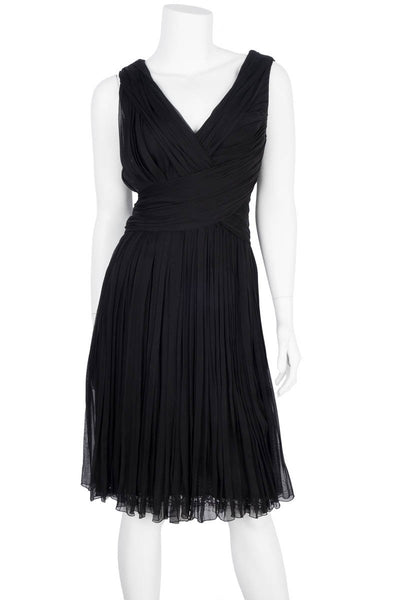 Ani Alvarez Calderon Black Draped Cocktail Dress Sz 8