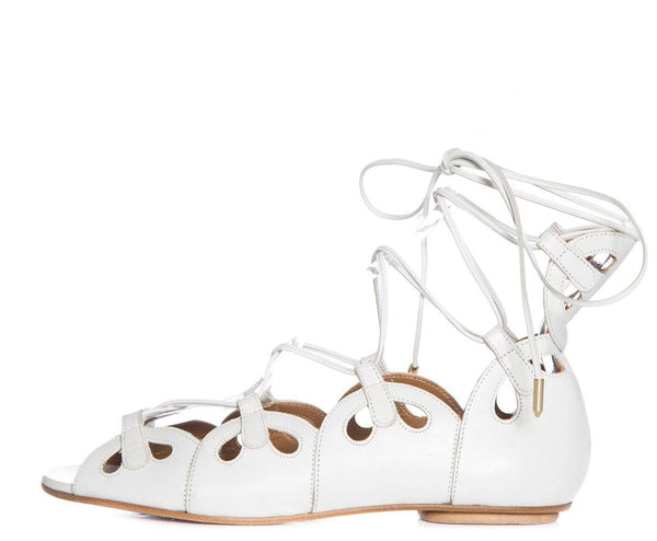 Aquazzura White Leather Lace Up Flats SZ 36