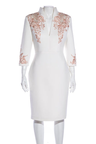 Badgley Mischka Off White Floral Lace Dress SZ 10