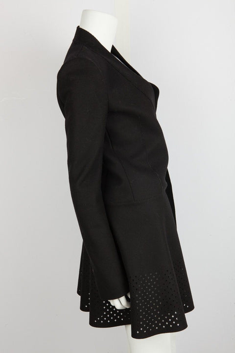 Balenciaga Black Wool Coat with Cut Out Detail Bottom Sz 6