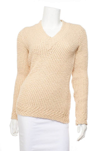 Balenciaga Cream Knit V-neck Sweater SZ 42