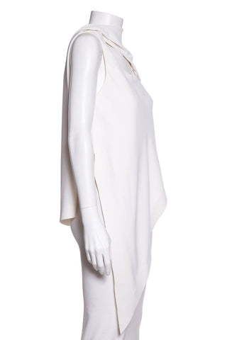 Balenciaga White Sleeveless Asymmetrical Knit Top SZ 36