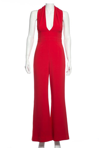 Brandon Maxwell Red Rolled Collar Jumpsuit SZ 6 DS