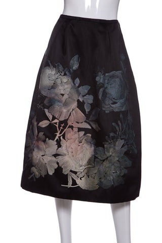 Browns Black Floral Embroidery Silk Skirt SZ 8