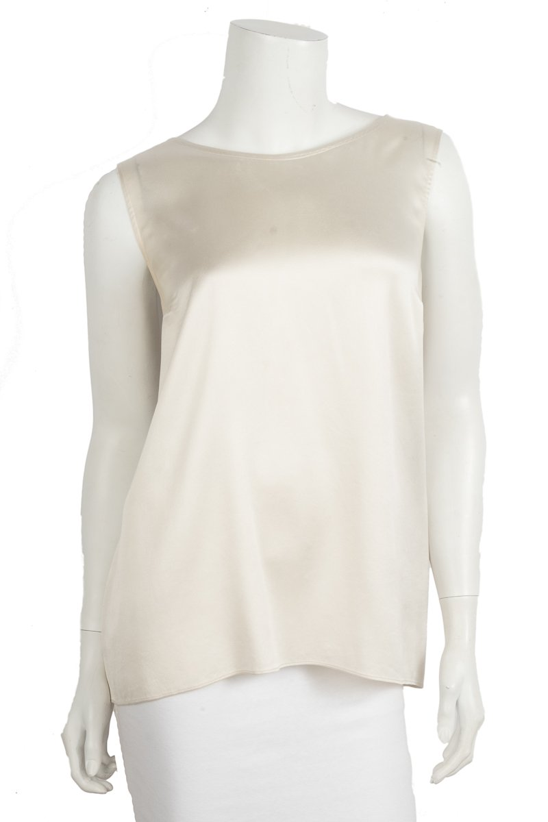 Brunello Cucinelli Ivory Sleeveless Silk Top Sz XL