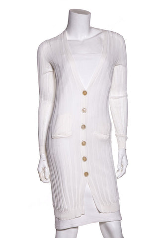 Brunello Cucinelli White Knit Long Sleeve Cardigan SZ XS