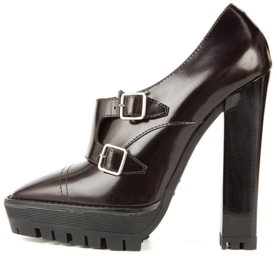 Burberry 39.5 Dark Brown Leather and Silver Buckle Chunky Sole Heel