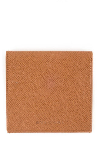 Bvlgari Brown Grained Leather Slim Wallet