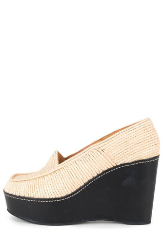 Carven By Robert Clegerie Tan Woven Platform Wedges 39