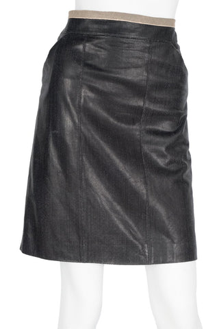Chanel Black Cracked Leather Skirt Sz 36
