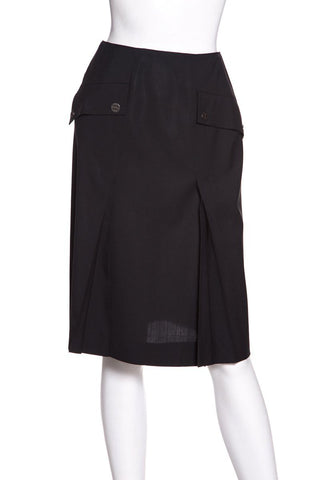 Chanel Black Pleated Woven Skirt SZ 36