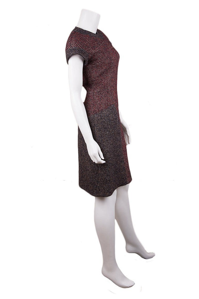 Chanel Navy & Burgundy Tweed Shift Dress