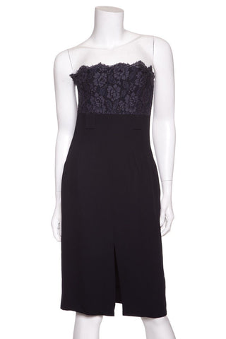 Chanel Navy Strapless Lace Dress SZ 38 Sale