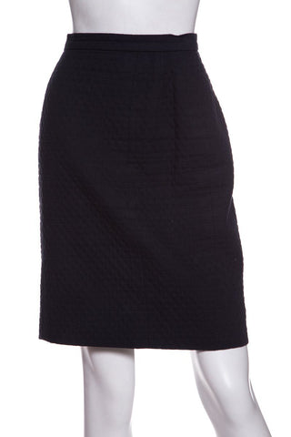 Chanel Navy Textured Woven Skirt Sale