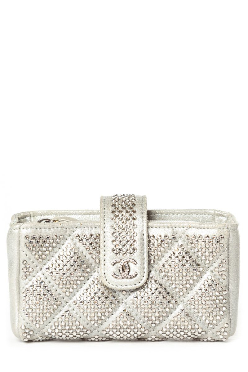 Chanel Silver Leather & Crystal O-Phone Holder Sale