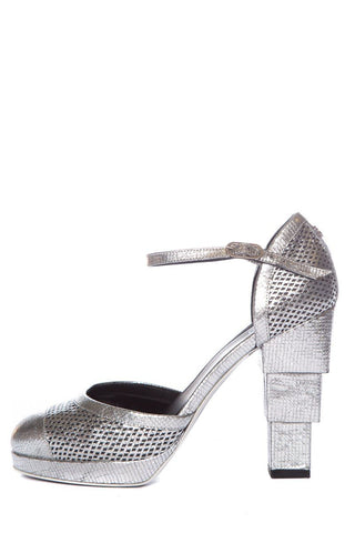 Chanel Silver Platform Pumps SZ 40