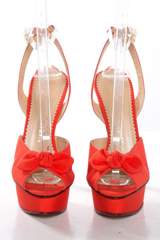 Charlotte Olympia Orange Peep Toe Platform Sandals SZ 40