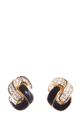 Christian Dior Gold & Black Earrings