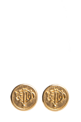 Christian Dior Gold Vintage Coin Earrings