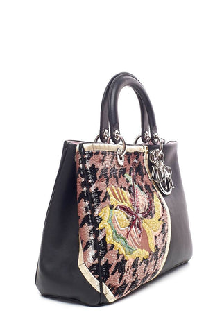 Christian Dior Medium Embroidered Diorisimo Leather Handle Bag